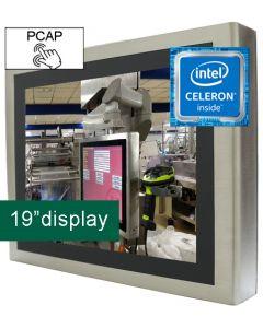 19'' IP65 PCT Panel PC Celeron J1900 12V