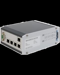 MAGBES-F21R Mngt Gigabit Switch MAGBES62-2 Flange mnt 5prt RJ45 5-36VDC
